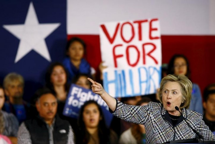 Democratic U.S. presidential candidate Hillary Clinton speaks at a Grassroots Organizing Event at Mountain View College in Dallas, Texas, November 17, 2015. REUTERS/Mike Stone/File Photo -
