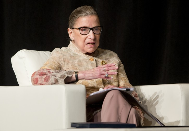 """FILE - In this May 26, 2016 file photo, Supreme Court Justice Ruth Bader Ginsburg takes part in a conference in Saratoga Springs, N.Y. Ginsburg says she doesn't want to think about the possibility of Donald Trump winning the White House, and predicts the next president, """"whoever she will be,"""" probably will have a few appointments to make to the Supreme Court. (AP Photo/Mike Groll, File)"""