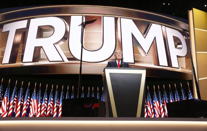 Republican Presidential nominee Donald Trump delivers his address during the final day of the 2016 Republican National Convention at Quicken Loans Arena in Cleveland, Ohio, USA, 21 July 2016.  EPA