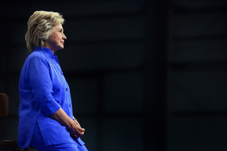 Democratic presidential candidate Hillary Clinton listens to Vice President Joe Biden speak during a campaign event Monday, Aug. 15, 2016, in Scranton, Pa. (Butch Comegys/The Times & Tribune via AP)