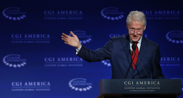 FILE - In this June 10, 2015 file photo, former U.S. President Bill Clinton speaks at annual gathering of the Clinton Global Initiative America, which is a part of The Clinton Foundation, in Denver. (AP Photo/Brennan Linsley, File)