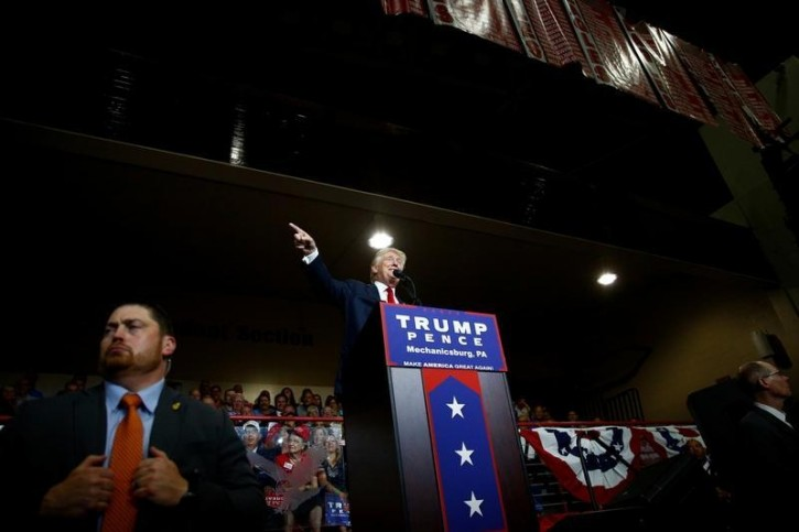 Republican U.S. Presidential nominee Donald Trump attends a campaign event at Cumberland Valley High School in Mechanicsburg, Pennsylvania August 1, 2016. REUTERS/Eric Thayer