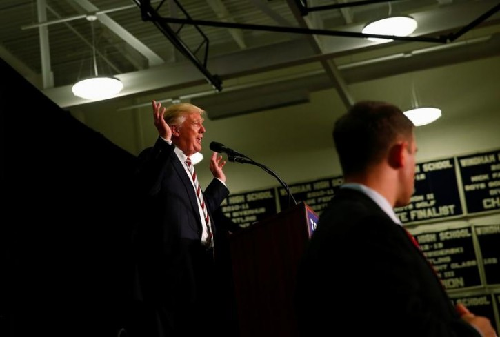 Republican U.S. presidential nominee Donald Trump attends a campaign event at Windham High School in Windham, New Hampshire August 6, 2016. REUTERS/Eric Thayer