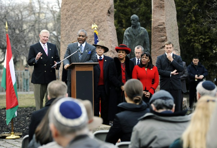 FILE -  Senior member of the US Foreign Affairs Committee of the House of Representatives Gregory Meeks speaks in front of the statue of late Swedish diplomat Raoul Wallenberg during a wreathe laying ceremony in Budapest, Hungary, 24 February 2012. EPA
