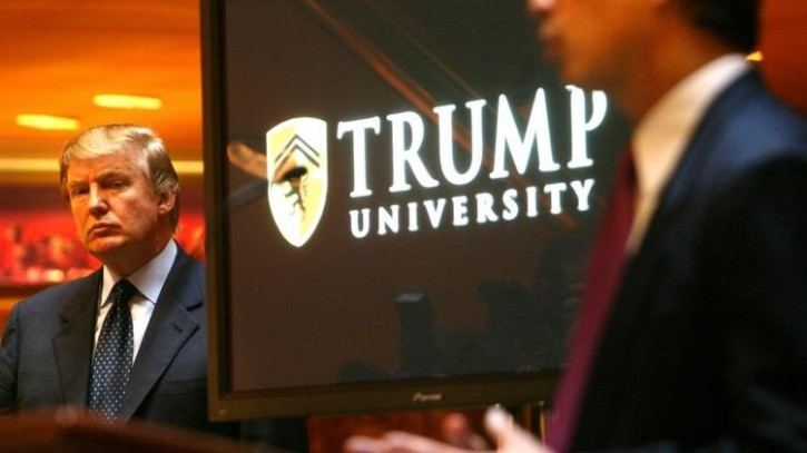 Donald Trump appears at a news conference in New York in 2005 to announce the establishment of Trump University. (Bebeto Matthews / Associated Press)