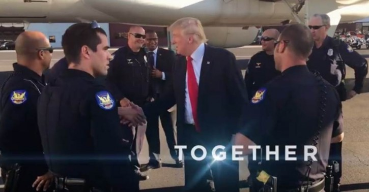 A still image from 'Movement,' a Trump campaign ad that the city of Phoenix contends illegally includes images of its uniformed police officers.