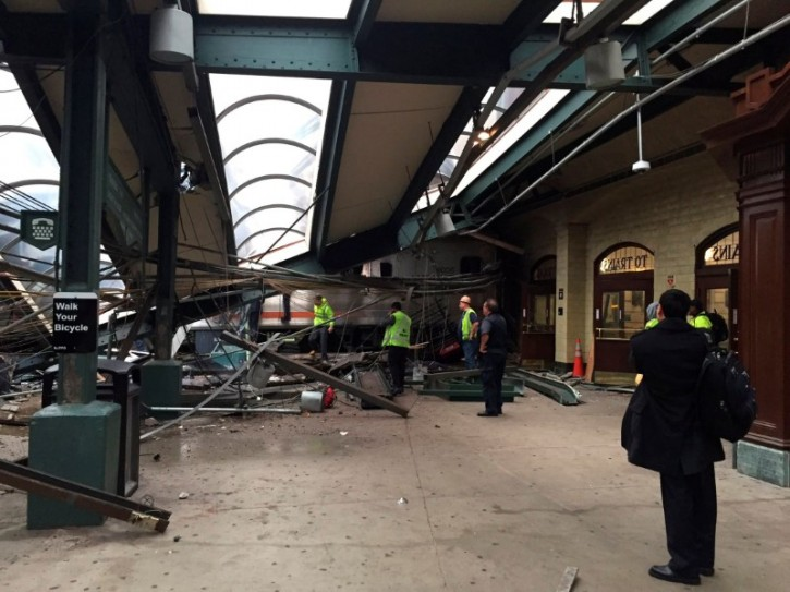 A New Jersey Transit train that derailed and crashed through the station is seen in Hoboken, New Jersey, U.S. in this picture courtesy of Corey Futterman taken September 29, 2016.   Courtesy of Corey Futterman via REUTERS