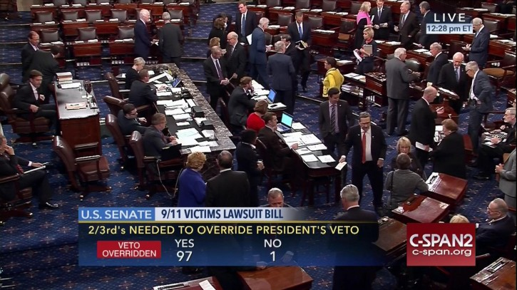 FILE- In this Sept. 28, 2016 image taken from video and provided by C-SPAN2,  the floor of the Senate on Capitol Hill in Washington is shown as the Senate acted decisively to override President Barack Obama's veto of Sept. 11 legislation.   (C-SPAN2 via AP, File)