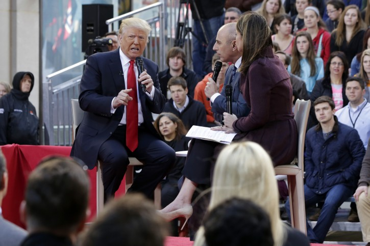 """FILE - Republican presidential candidate Donald Trump, left, is interviewed by co-hosts Matt Lauer and Savannah Guthrie on the NBC """"Today"""" television program, in New York, Thursday, April 21, 2016. (AP Photo/Richard Drew)"""