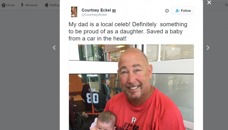 Eckel's daughter shared her father's act of heroism on Twitter