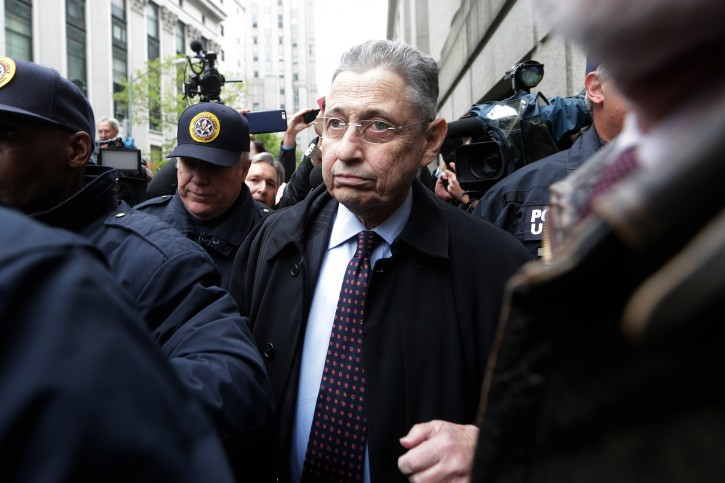FILE - epa05288843 Sheldon Silver, the former speaker of the New York State Assembly, leaves  federal court after his sentencing in New York, New York, USA, 03 May 2015.  EPA
