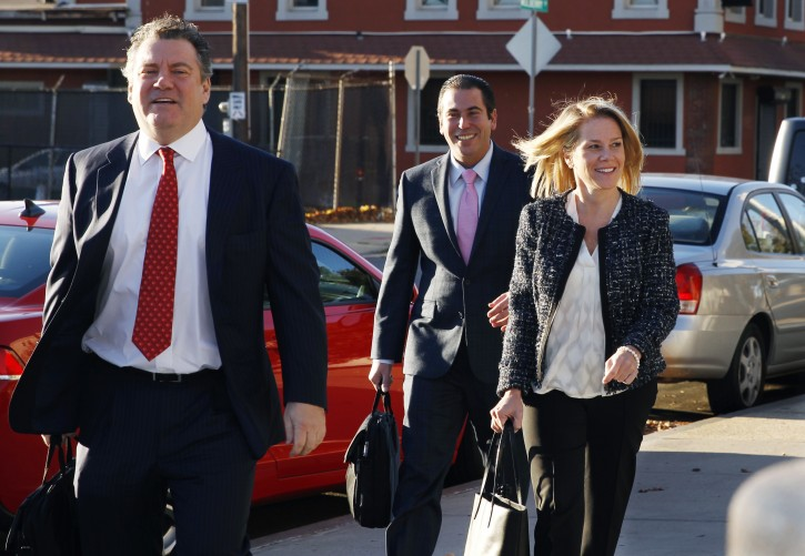 Bridget Anne Kelly, right, New Jersey Gov. Chris Christie's former Deputy Chief of Staff, arrives at Martin Luther King Jr. Courthouse with her attorney Michael Critchley Jr., left, for a hearing, Monday, Oct. 31, 2016, in Newark, N.J.  AP