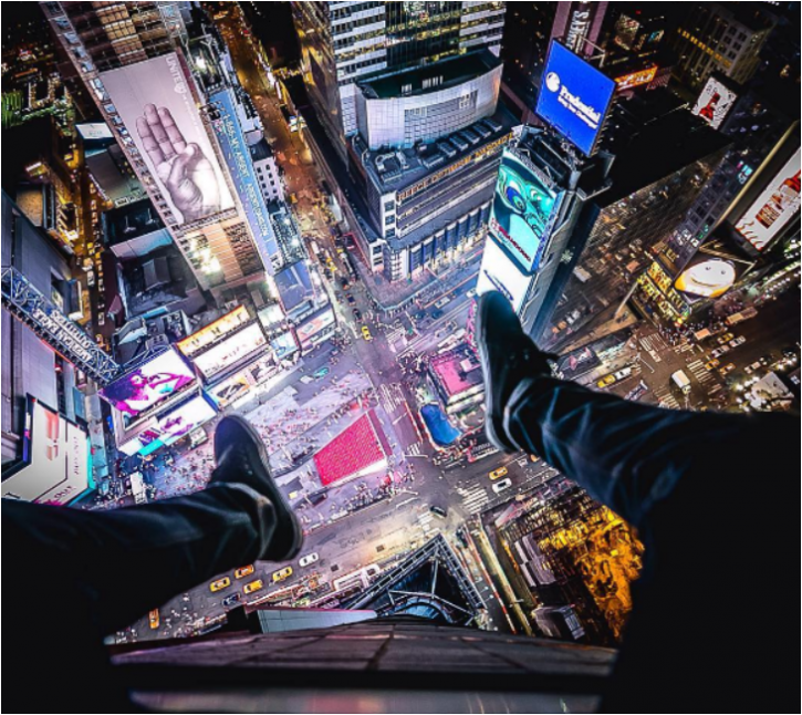 His most recent Instagram picture, posted three days ago, was taken high over Times Square at night.