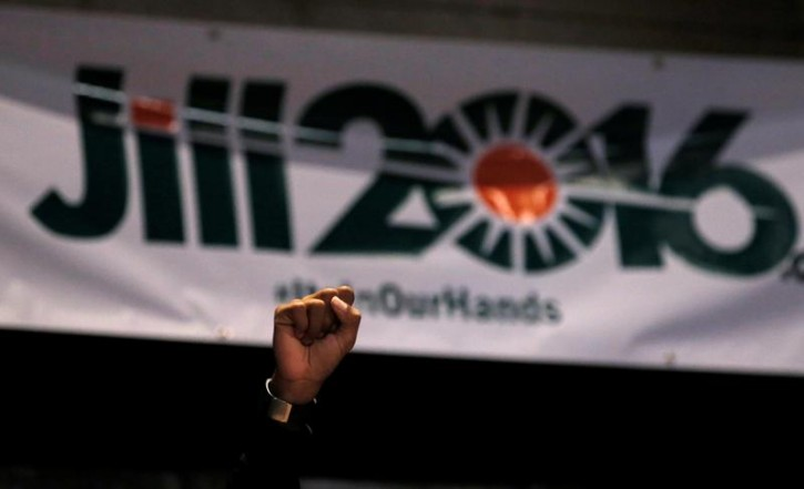 FILE - A supporter of Green Party presidential candidate Jill Stein raises his fist in the air during a campaign rally in Chicago, Illinois, U.S. September 8, 2016.   REUTERS/Jim Young