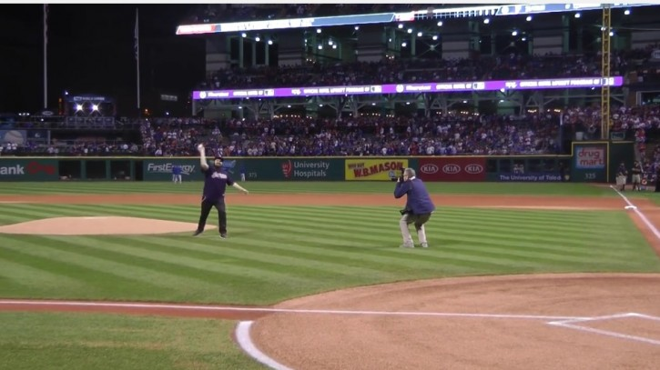 Dan Eleff throwing out the ceremonial first pitch at the final World Series game played last night in Cleveland.