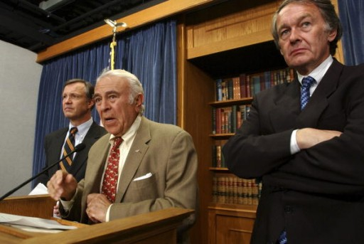 FILE - NOVEMBER 23, 2002: From left, Reps. Chris Cox, R-Calif., Ben Gilman, R-N.Y., and Edward Markey, D-Mass, attend a news conference to urge President Bush to halt construction of nuclear reactors in North Korea. (Photo By Tom Williams/Roll Call/Getty Images)