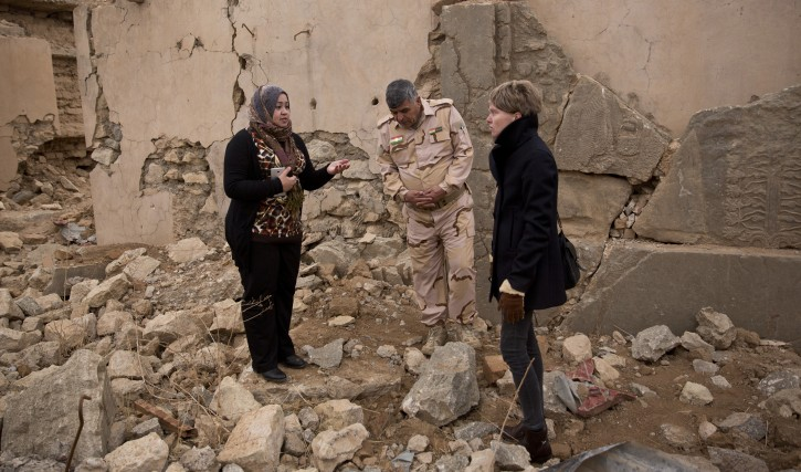 Iraq archaeologist Layla Salih, left, confers with UNESCO's representative in Iraq Louse Haxthausen, right, at the ancient site of Nimrud, Iraq, in this Wednesday, Dec. 14, 2016 photo. (AP Photo/Maya Alleruzzo)
