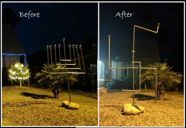 The Ellis family's home at the beginning of Hanukkah, left, and early Friday morning when the menorah was vandalized, right. (Courtesy of Naomi Ellis)