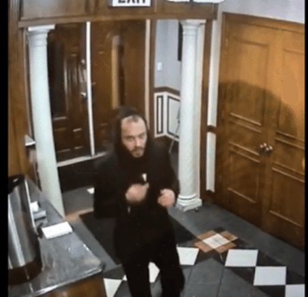 Police say this individual broke into Avenue O Synagogue and took Torah scrolls on October 25, 2016 (NYPD).