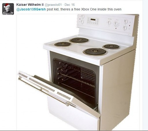 """A chilling post on Jacob Gersh's Twitter account showed a picture of a kitchen oven with its door ajar, and the words """"psst kid, there's a free Xbox One inside the oven."""""""