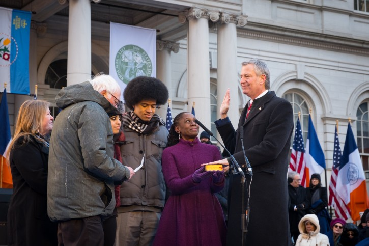 New York City Mayor Bill de Blasio is sworn in by United States Senator Bernie Sanders at the City of New York 2018 Inaugural Ceremonies on January 1, 2018 on the steps of City Hall. (Edwin J. Torres/Mayoral Photography Office)