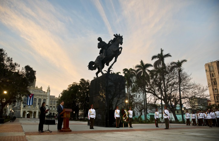 Joseph Mizzi, the chairman of the Bronx museum's board of trustees, speaks at the ceremony to unveil a replica of a New York statue of Cuba's independence hero Jose Marti in Havana, Cuba, Sunday, Jan. 28, 2018. The monument was unveiled on the 165th anniversary of the birth of the Cuban independence hero in a ceremony attended by a delegation of U.S. organizers of the event and top officials of the Cuban Government, including President Raul Castro. (AP Photo/Ramon Espinosa)