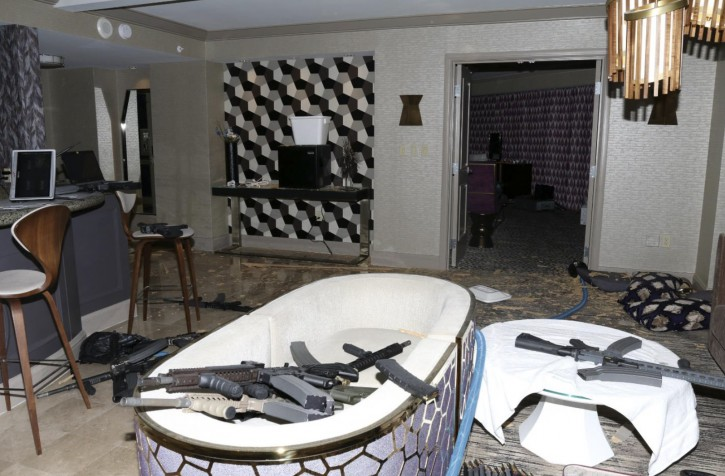 FILE--This Oct. 2017 file photo released by the Las Vegas Metropolitan Police Department Force Investigation Team Report showing the interior of Las Vegas shooter Stephen Paddock's 32nd floor room of the Mandalay Bay hotel Two Nevada judges in Las Vegas have ordered the release of search warrant records and autopsy reports related to the deadliest mass shooting in modern U.S. history, with some information redacted. (Las Vegas Metropolitan Police Department via AP, file)