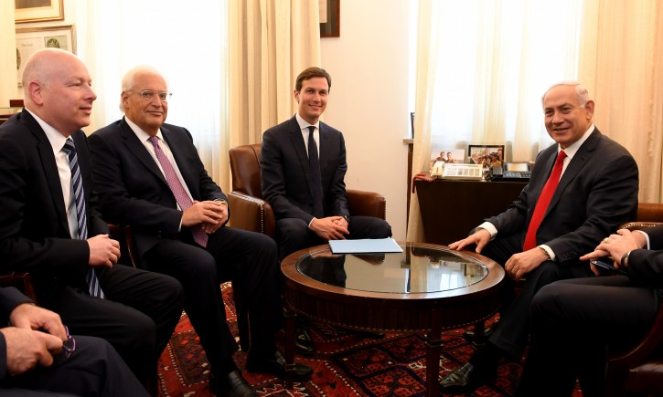 FILE - US President Donald J. Trump's Special Envoys Jared Kushner and Jason Greenblatt meet with Israeli Prime Minister Benjamin Netanyahu at the Prime Minister's Office in Jerusalem, June 21, 2017. Photo by  Matty Stern/U.S. Embassy Tel Aviv