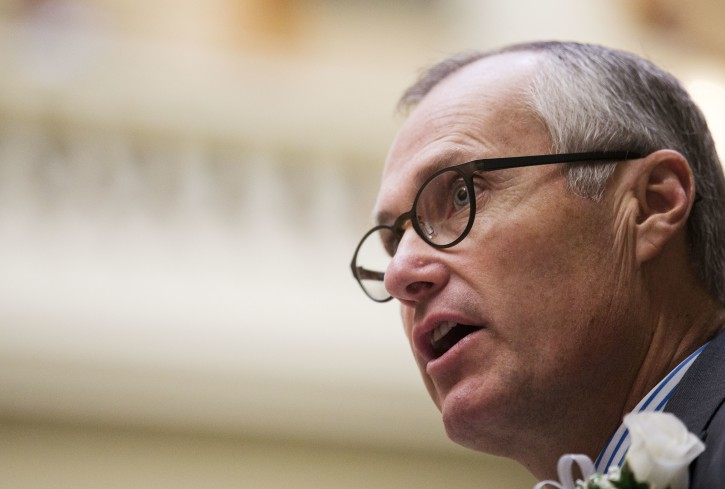 FILE - In this Jan. 11, 2016, file photo, Georgia Lt. Gov. Casey Cagle speaks during a memorial ceremony on the first day of the legislative session at the state Capitol in Atlanta. Cagle on Monday, Feb. 26, 2018, threatened to prevent Delta Air Lines from getting a lucrative tax cut after the company ended its discount program with the National Rifle Association. (AP Photo/David Goldman, File)