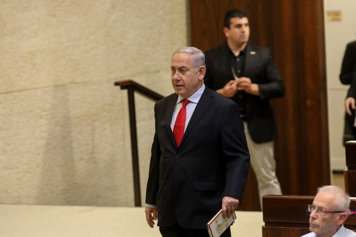 Prime Minister Benjamin Netanyahu seen during a vote at the assembly hall of the Israeli parliament on February 13, 2018, on the state budget vote for 2019. Photo by Yonatan Sindel/Flash90