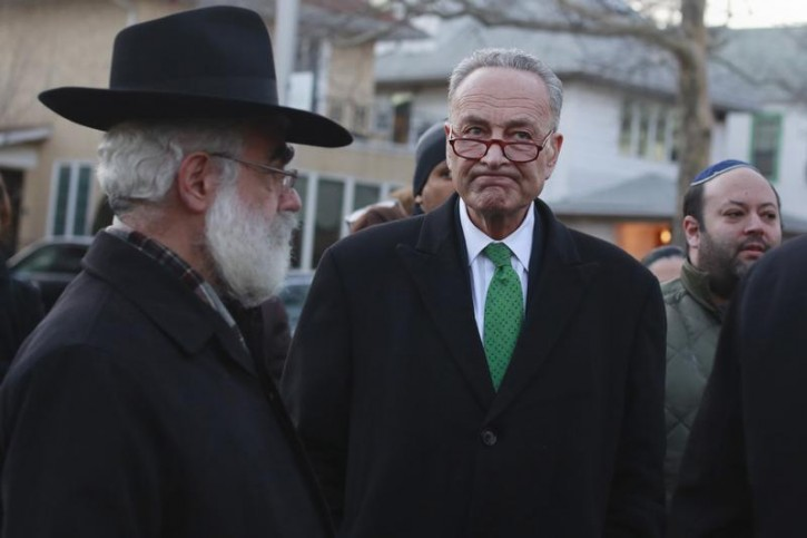 FILE - U.S. Senator Chuck Schumer (D-NY) in the Midwood neighborhood of the borough of Brooklyn, in New York, March 22, 2015. REUTERS