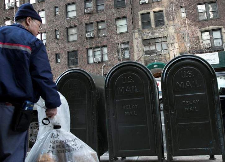 Mail is collected across the street from 405 E. 54th street, where Donald Trump Jr.'s wife, Vanessa Trump, opened a letter containing white powder in New York, U.S., February 12, 2018.  REUTERS/Caitlin Ochs