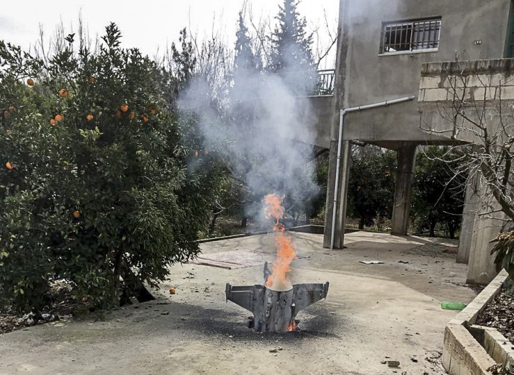Remnants of an unidentified rocket that did not explode fell at the house of Sheikh Ismail Amasha in the town of Hasbaya, south Lebanon, near the Lebanese-Israeli-Syrian borders, 10 February 2018. EPA