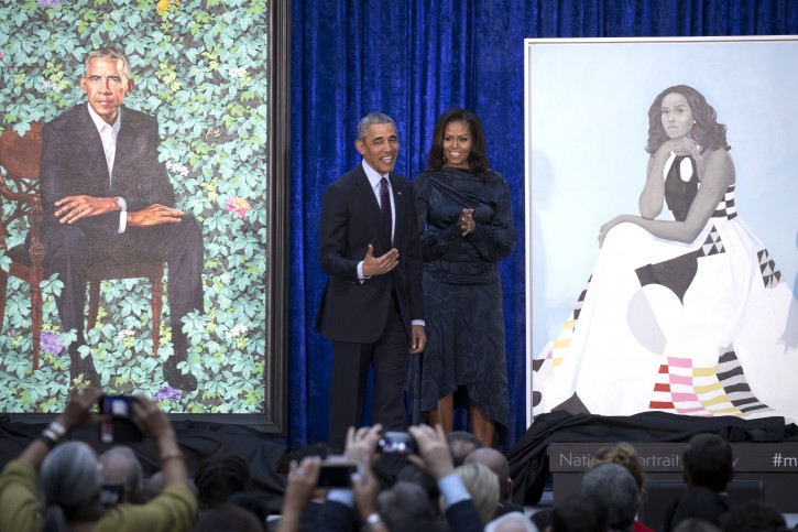 Former US President Barack Obama (L) and former First Lady Michelle Obama (R) participate in the unveiling of their official portraits at the Smithsonian's National Portrait Gallery in Washington, DC, USA, on 12 February 2018. EPA