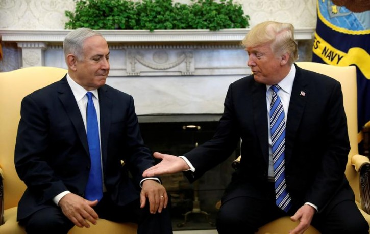 FILE - U.S. President Donald Trump meets with Israel Prime Minister Benjamin Netanyahu in the Oval Office of the White House in Washington, U.S., March 5, 2018. REUTERS/Kevin Lamarque
