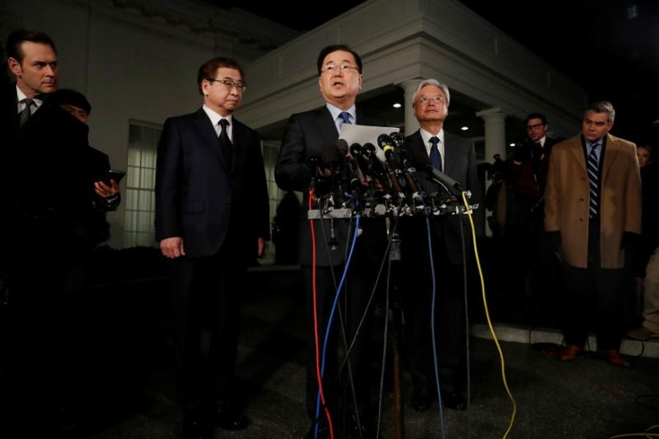 South Korea's National Security Office head Chung Eui-yong, center, National Intelligence Service chief Suh Hoon (L), and South Korean Ambassador to the U.S. Cho Yoon-je, make an announcement about North Korea and the Trump administration outside of the West Wing at the White House in Washington, U.S. March 8, 2018. REUTERS/Leah Millis -