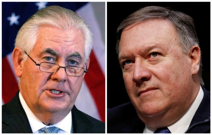 A combination photo shows U.S. Secretary of State Rex Tillerson (L) in Addis Ababa, Ethiopia, March 8, 2018, and Central Intelligence Agency (CIA) Director Mike Pompeo on Capitol Hill in Washington, DC, U.S., February 13, 2018 respectively.  REUTERS/Jonathan Ernst