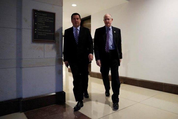 Rep. Devin Nunes (R-CA), (L), and Rep. Mike Conaway (R-TX) arrive for a closed meeting of the House Intelligence Committee on Capitol Hill in Washington, U.S., January 17, 2018. REUTERS/Aaron P. Bernstein