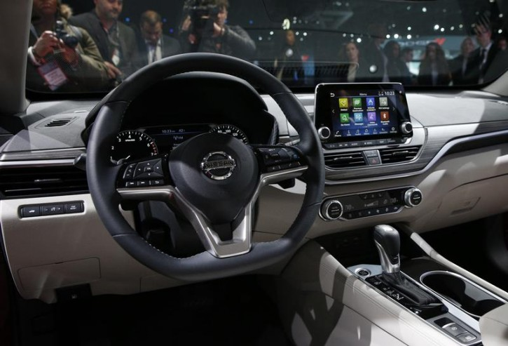 View of the interior of the 2019 Nissan Altima being displayed at the New York Auto Show in the Manhattan borough of New York City, New York, U.S., March 28, 2018. REUTERS/Brendan Mcdermid