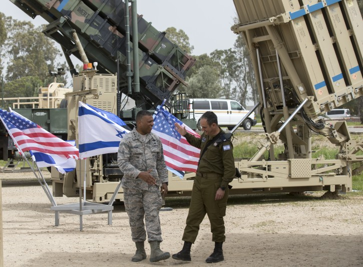US Air Force  Lt. Gen. Richard Clark (L), United States European Command and Israeli Brig. Gen. Zvika Haimovich (R) standing next to a Patriot missile Defense system at the Israeli Air Force Base of Hatzor, in central Israel, 08 March 2018 during a joint IDF-US military exercise 'Juniper Cobra  2018'.  EPA