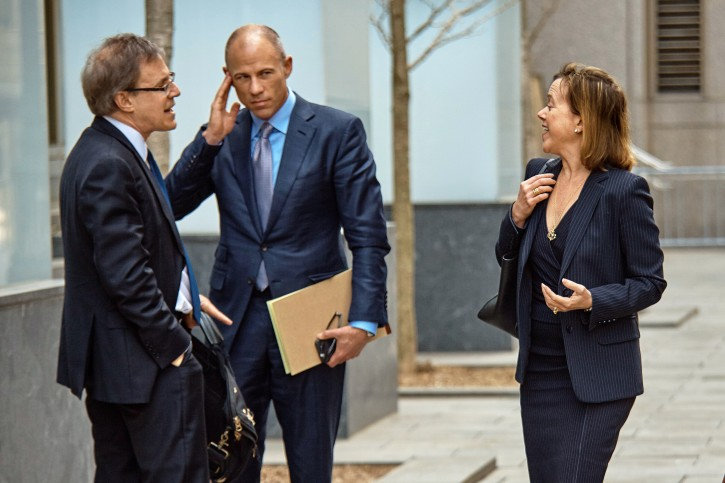 Attorney Joanna Hendon representing President Trump, right, talks to Michael Avenatti, attorney and spokesperson for adult film actress Stormy Daniels, second left, at the Federal court, Friday, April 13, 2018, in New York. AP