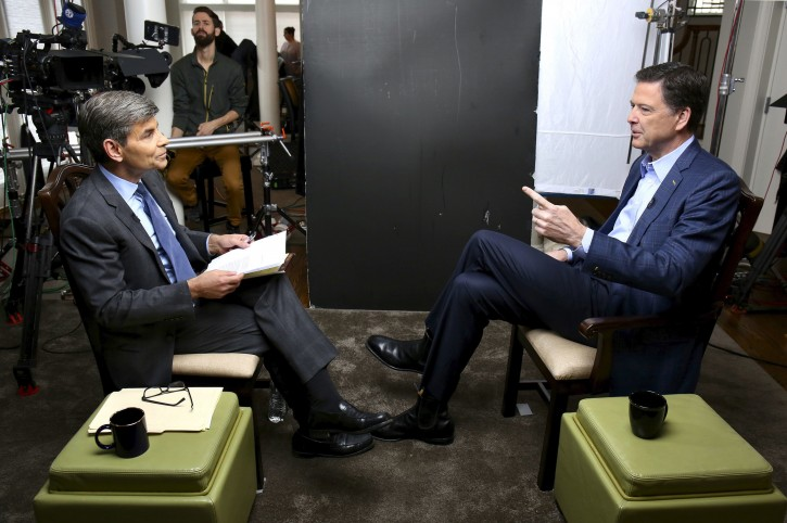 "George Stephanopoulos sits down with former FBI director James Comey for an exclusive interview that will air during a primetime ""20/20"" special on Sunday, April 15, 2018 on the ABC Television Network.   (ABC/ Ralph Alswang)"
