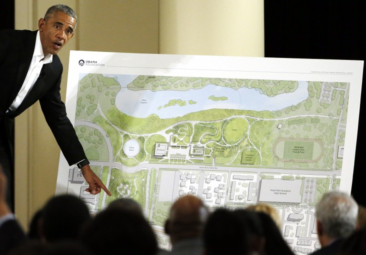FILE - In this May 3, 2017, file photo, former President Barack Obama speaks at a community event on the Presidential Center at the South Shore Cultural Center in Chicago. (AP Photo/Nam Y. Huh, File)