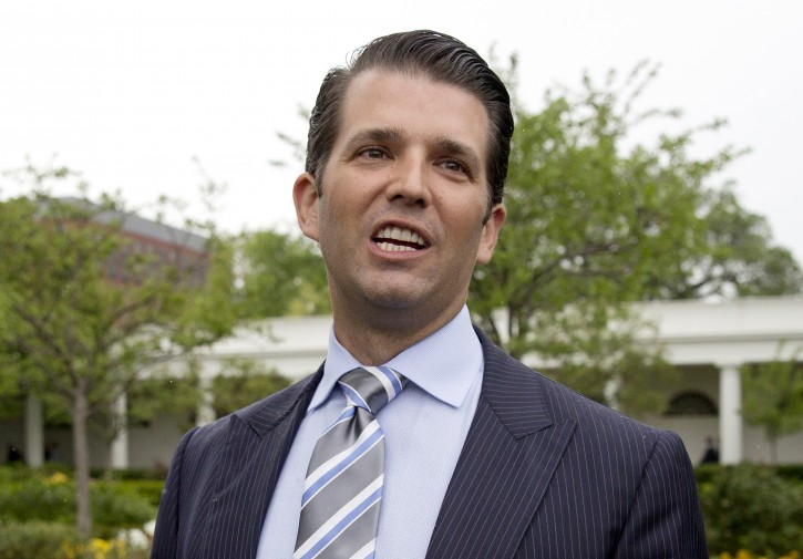 In this April 17, 2017 file photo, Donald Trump Jr., the son of President Donald Trump, speaks to media on the South Lawn of the White House in Washington. (AP Photo/Carolyn Kaster)