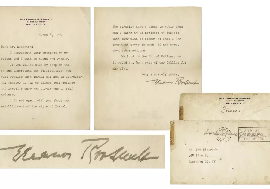 A 1957 letter written by Eleanor Roosevelt