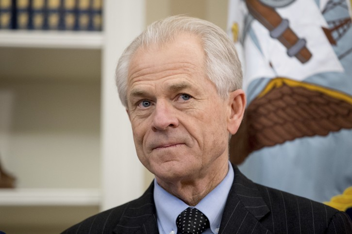 FILE - In this March 31, 2017 file photo, National Trade Council adviser Peter Navarro appears before President Donald Trump arrives to sign executive orders regarding trade in the Oval Office at the White House in Washington.  (AP Photo/Andrew Harnik)