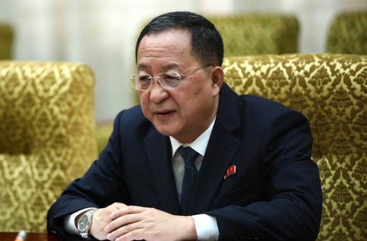 North Korean Foreign Minister Ri Yong-ho speaks at a meeting with Russian officials in Pyongyang, North Korea, May 31, 2018. (Russian Foreign Press and Information Office/Handout/Anadolu Agency/Getty Images)