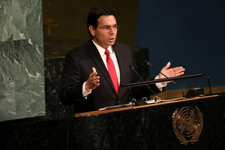 Israeli Ambassador to the United Nations Danny Danon addresses a United Nations General Assembly meeting ahead of a vote on a draft resolution that would deplore the use of excessive force by Israeli troops against Palestinian civilians at U.N. headquarters in New York, U.S., June 13, 2018. REUTERS/Mike Segar
