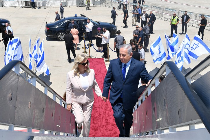 Prime Minister Benjamin Netanyahu and his wife Sara depart for a diplomatic visit to Moscow. (GPO)
