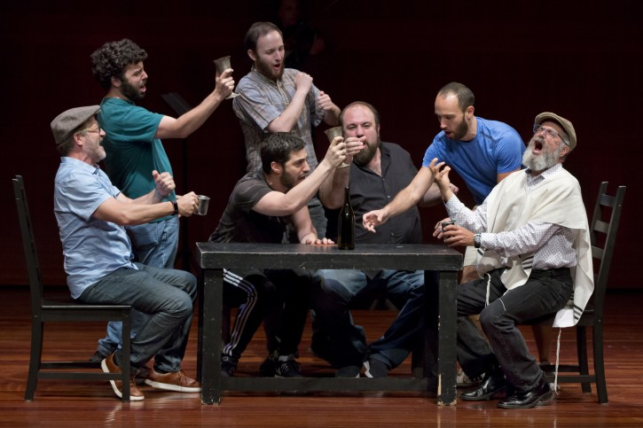 "In this Tuesday, June 19, 2018, photo, Steven Skybell, right, as Tevye, rehearses with the National Yiddish Theatre Folksbiene cast of a Yiddish-language version of ""Fiddler on the Roof,"" at the at the Museum of Jewish Heritage, in New York. (AP Photo/Richard Drew)"